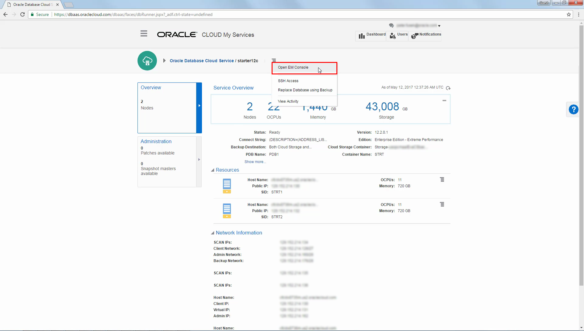 Oracle Database Exadata Cloud Service Quick Start