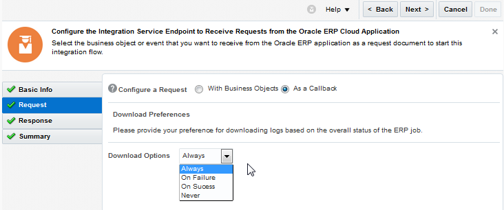 Configuring Oracle ERP Cloud Trigger Request Properties