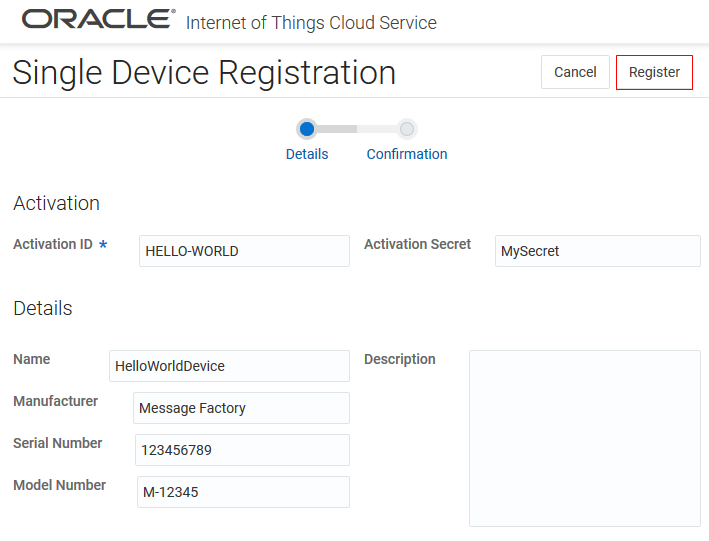 Configuring an Application in Oracle Internet of Things Cloud Service