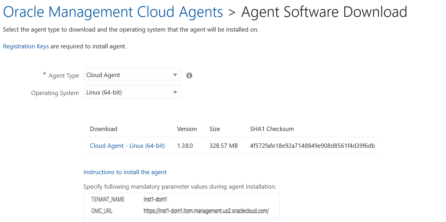 Downloading the Oracle Management Cloud Agent Software