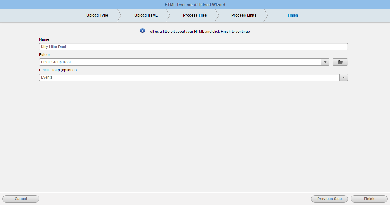 Uploading HTML emails or templates