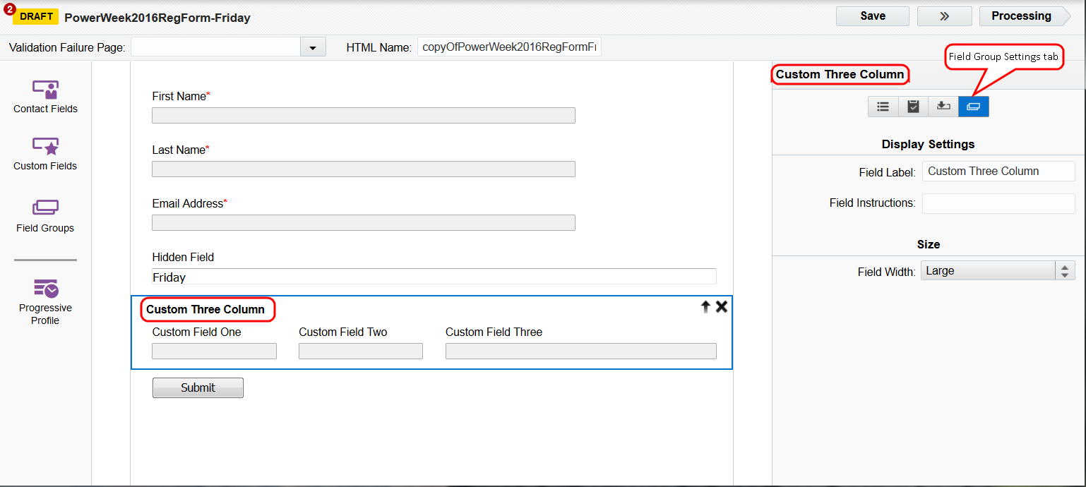 An image for the form editor highlighting the Field Group Settings tab.