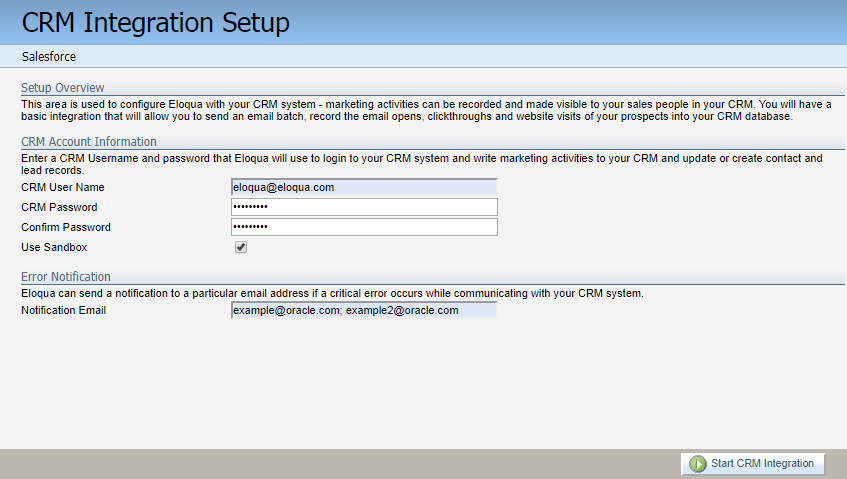 Preliminary Oracle Eloqua setup for your integration
