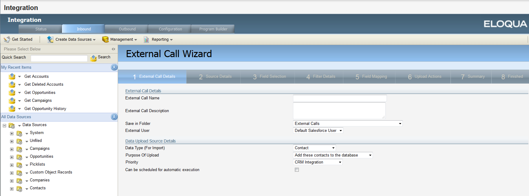 Oracle forms data blocks on different sources - An Image Of The First Page Of The External Call Wizard