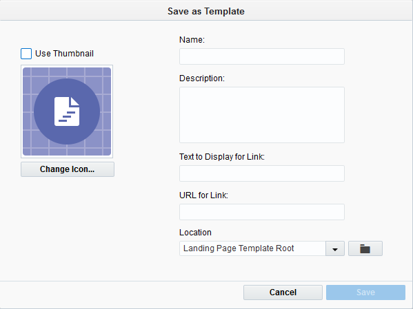 Saving landing pages as templates an image of the save as template window ccuart Choice Image