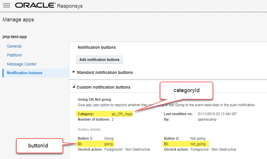 Managing Interactive Notifications · Oracle Responsys Mobile