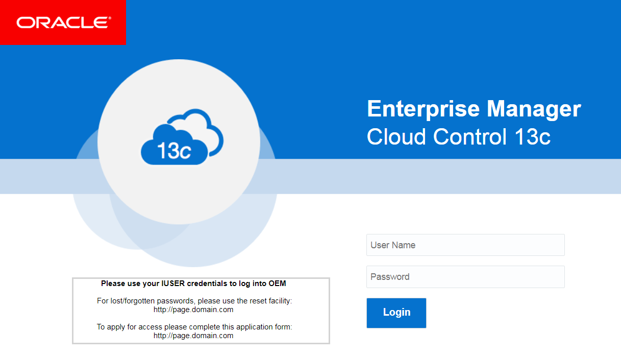 Support for Customization of Enterprise Manager Login Page