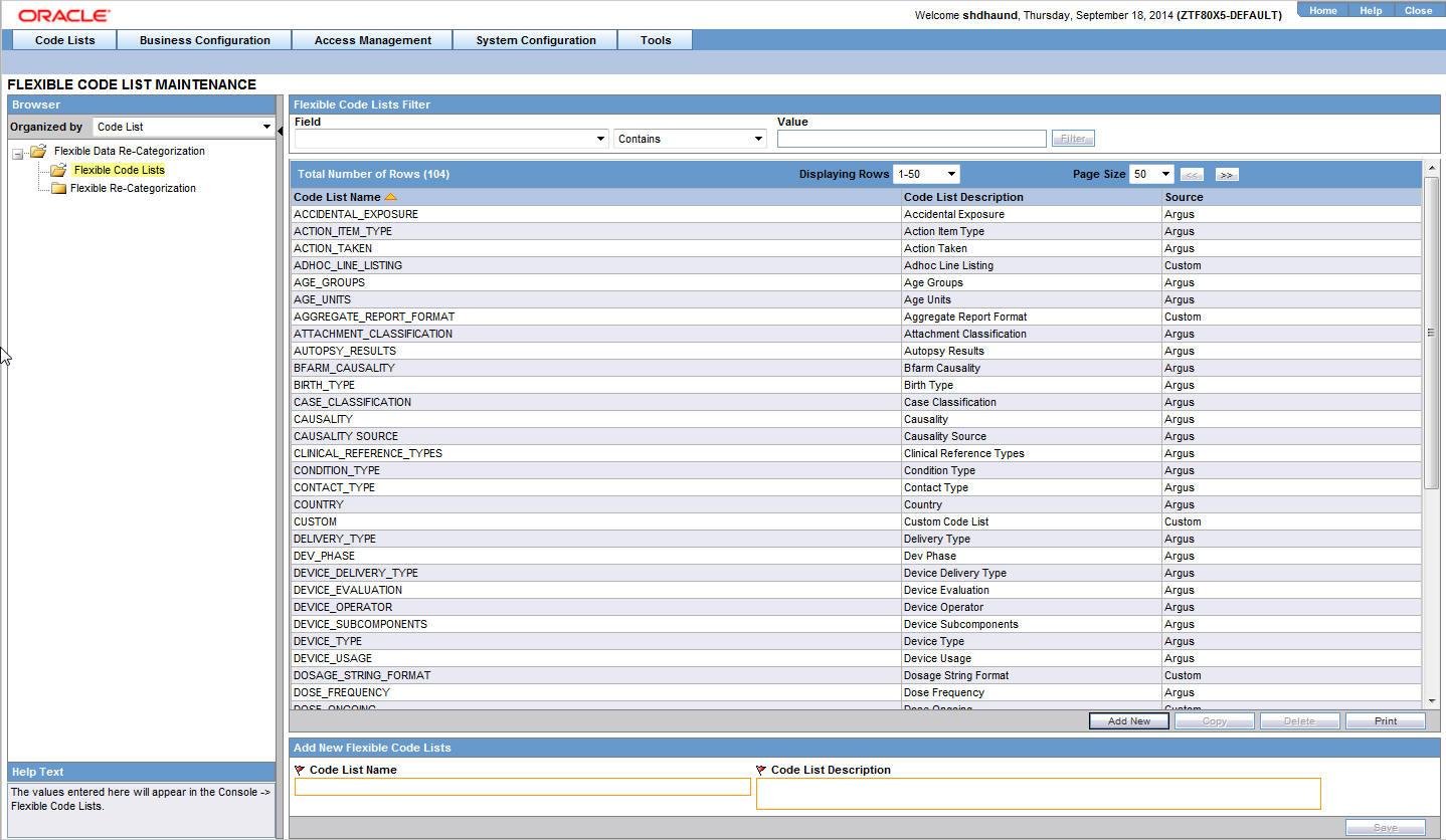 code list configuration rh docs oracle com