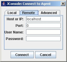 Connection dialog remote tab