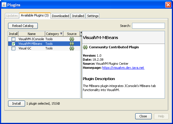 screenshot of Plugins window
