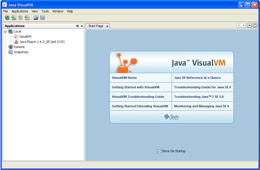 screenshot of VisualVM window with Start screen