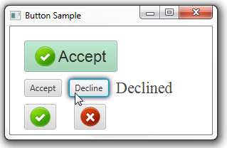 Buttons with graphical icons and text captions