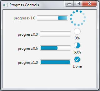 Progress bars and progress indicators in different states.