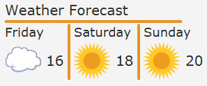 Weather forecast application with styled separators.
