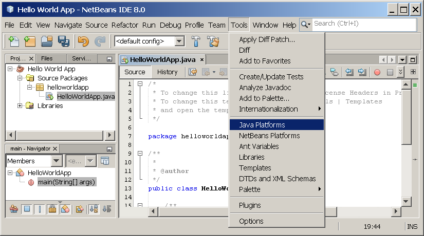 """Hello World!"" for the NetBeans IDE (The Java™ Tutorials"
