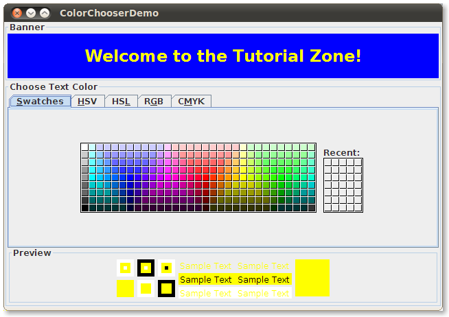 how to use color choosers the java� tutorials gt creating