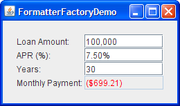 FormatterFactoryDemo, with amount field being edited