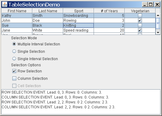 TableSelectionDemo with a non-contiguous row selection.