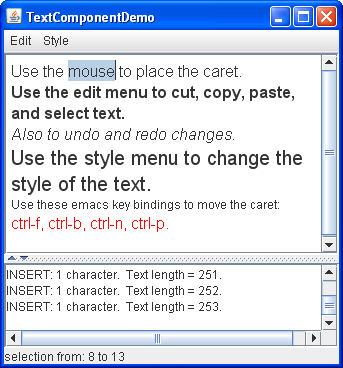 Text Component Features (The Java™ Tutorials > Creating a GUI With