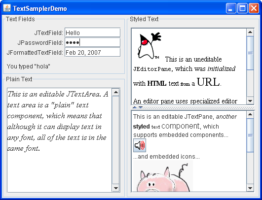 Using Text Components (The Java™ Tutorials > Creating a ...