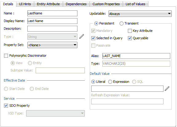 5 Defining SQL Queries Using View Objects