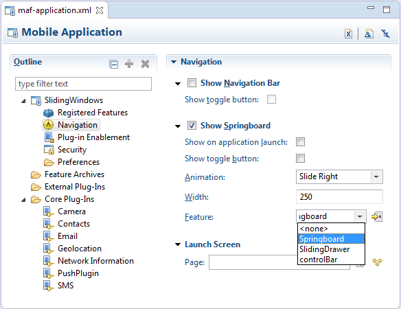 Configuring MAF Application Features