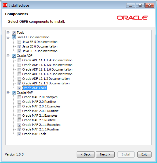 Installing Oracle Enterprise Pack for Eclipse